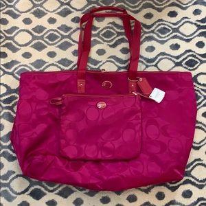NWT Fuchsia Coach Travel Bag with Make up Bag